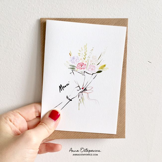 Merci post card, Illustration Anna Ostapowicz, #postcard, #french, #illustration, #flowers, #parisian, #watercolor