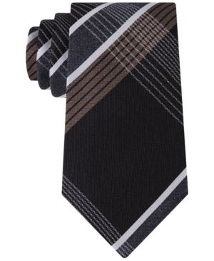 Kenneth Cole Reaction Men's Monte Bianco Plaid Tie  - Black