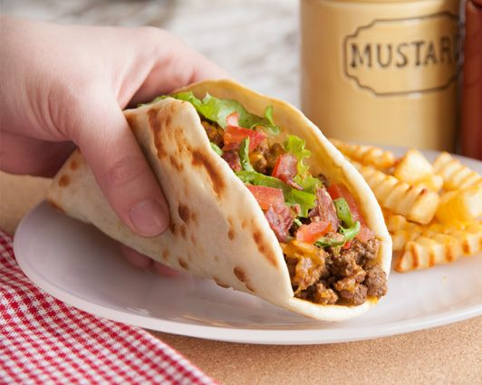 Bacon Cheeseburger Tacos...Your favorite bacon cheeseburger fixings all wrapped up!!