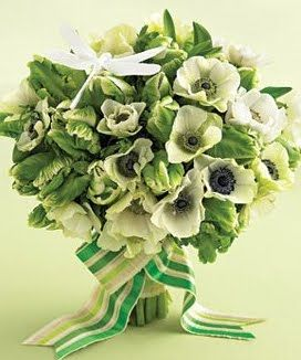 parrot tulips and anemones wedding flower bouquet, bridal bouquet. Use a white and green ribbon for the ultimate wintery touch! http://www.flowermuse.com/types-of-flowers/tulips.html http://www.flowermuse.com/types-of-flowers/anemones.html