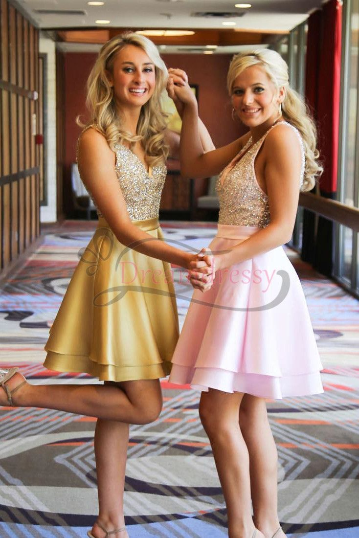 Luxurious v neck beaded short homecoming dress in prom dress