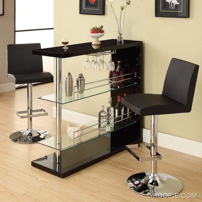 Bar Table With Two Glass Shelves In Gloss Black Finish By Coaster 100165