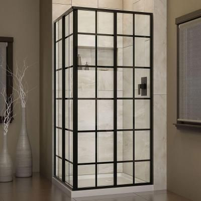 DreamLine French Corner 34-1/2 in. x 34-1/2 in. x 72 in. Framed Sliding Shower Enclosure in Satin Black-SHEN-8134340-89 - The Home Depot