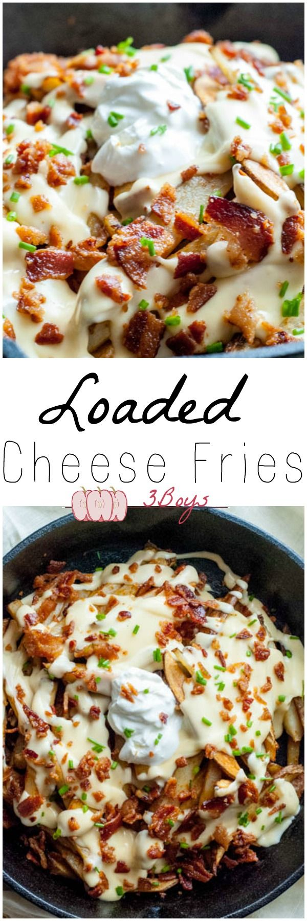 Loaded Cheese Fries made 100% from scratch. Food, appetizer, party food, lunch side, dinner side www.3boysunprocessed.com