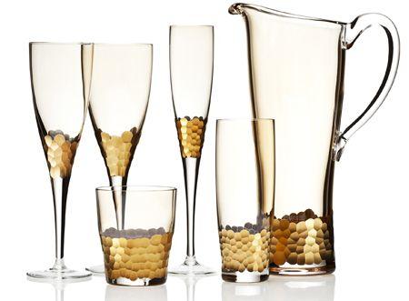 Hammered gold glassware