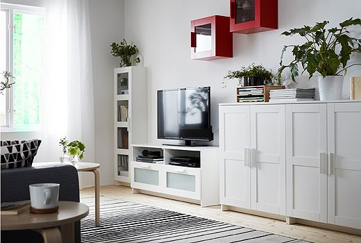 BRIMNES storage furniture lets you keep things on display or tucked away. And, whether you choose glass or solid doors, your things inside will be protected from dust.