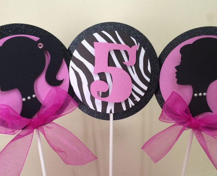 Barbie Centerpiece , Barbie Party by karlaspartycreations on Etsy https://www.etsy.com/listing/165040586/barbie-centerpiece-barbie-party