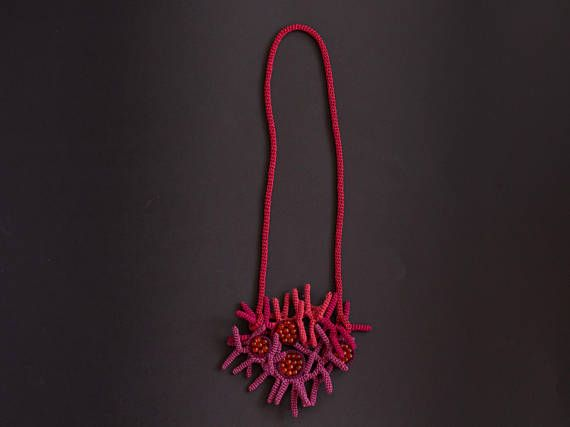 Abstract Purple Crochet Necklace