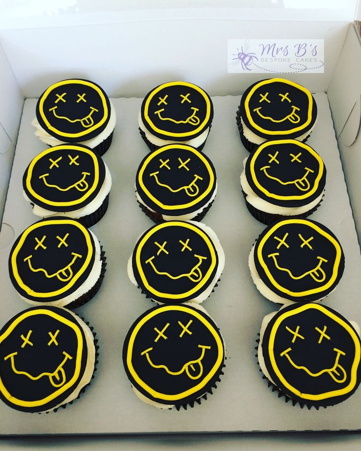 Nirvana logo Smiley Face Cupcakes for birthday  Entirely handcrafted and entirely edible made at Mrs B's Bespoke Cakes, Saltaire, West Yorkshire, 2017  www.mrs-bs.co.uk #nirvana #birthday #cupckaes #smileyface #smilesliketeenspirit