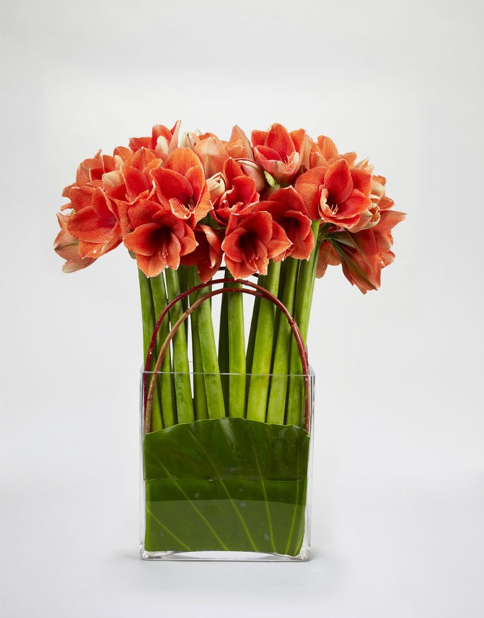 Amaryllis wedding flower arrangement