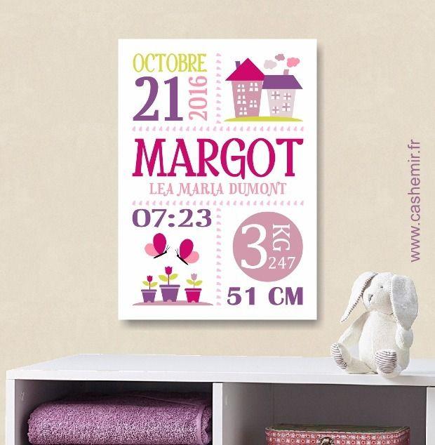 Cadeau de naissance fille personnalisé, affiche de naissance, décoration chambre bébé enfant - Fichier Imprimable - n°118 : Décoration pour enfants par cashemir