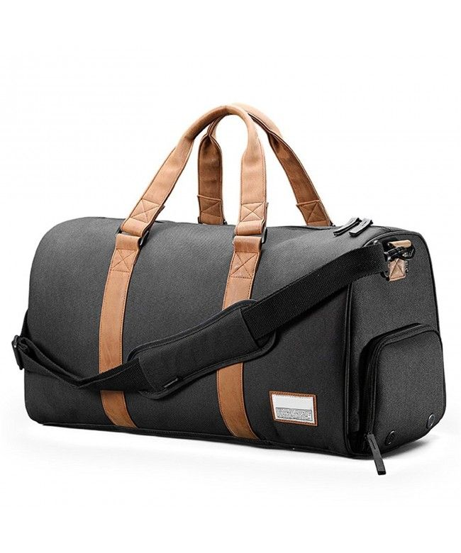 Duffle Bag With Shoes Pouch Laptop Compartment Black
