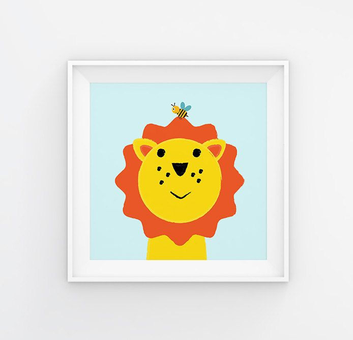 Poster for kids, nursery dekor, nursery wall art, nursery poster, kids poster, kids room, lion and bee, happy young animal by GrafPoster on Etsy
