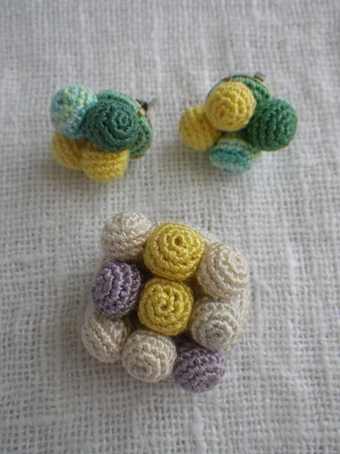 crochet earrings & brooch