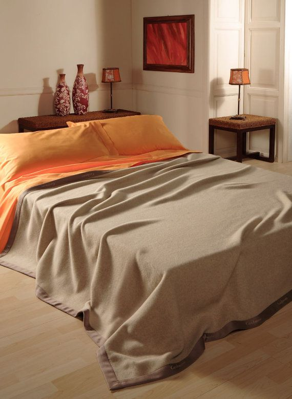 King size Spring BLANKET BEDSPREAD top CASHMERE, Eco Friendly, natural colour Sissy, tissued by craftsmen in Italy Free Shipment