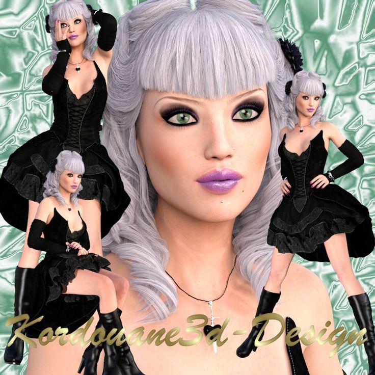 Gloria : 4 tubes de femme gothique chic