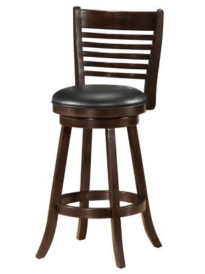 Shop Staples® for WHI 26'' Wood Slat Back Swivel Counter Stool with Black Faux Leather/ Dark Walnut, Set Of 2 $299