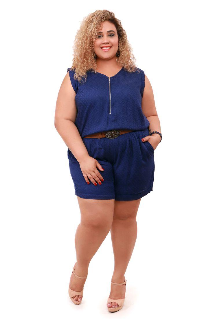 Macaquinho Plus size azul