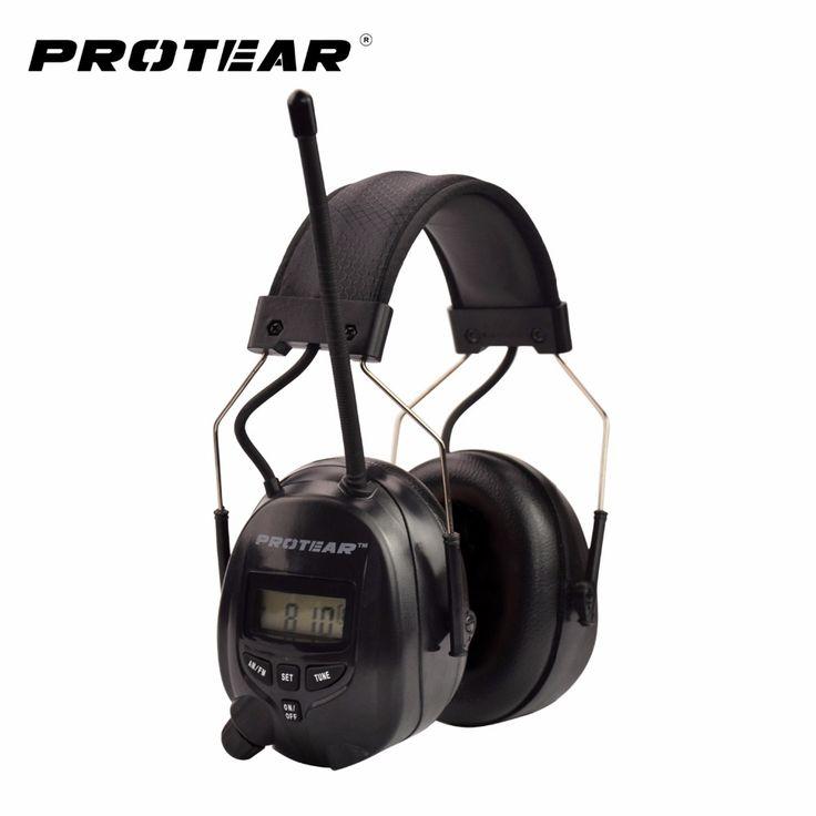 Protear Protetor Auditivo Eletrônico NRR 25dB AM FM Rádio Earmuffs Proteção de Orelha Eletrônico Para Tiro Earmuff Eletrônico