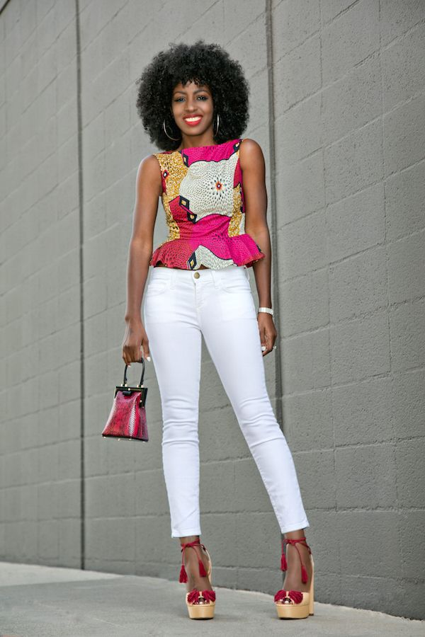 Printed Peplum Blouse + White Ankle Length Jeans