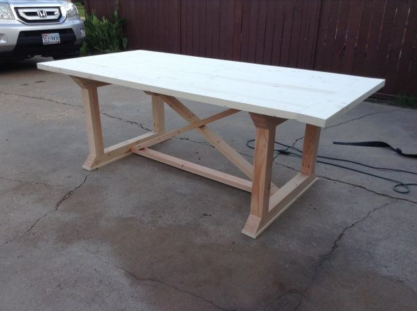 Our new DIY dinning table , My husband and I just finished building our new dinning table..and for $100 its a keeper :) , All put together and read to be sanded , Dining Rooms Design