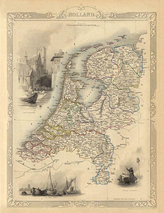 De kaart van Holland 1851 - afdrukken ----------- De afbeelding om deze af te drukken werd digitaal versterkte voor de beste uitstraling. Allermeest naar de opvouwbare borden werden digitaal verwijderd met behoud van de oorspronkelijke details. De eerste kleuren waren ook enigszins gewijzigd.  ♥ De afdruk wordt gemaakt op Harman Lithorealistic mat papier (270 g) met inkt (Lucia EX) met neutrale PH (zuurvrij) die is perfect voor archiveringsdoeleinden. We zijn met behulp van een van de beste…