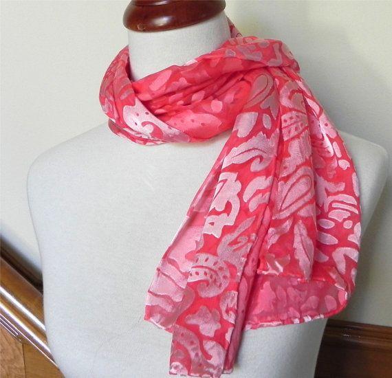 Rose red Devore satin hand dyed silk scarf door RosyDaysScarves