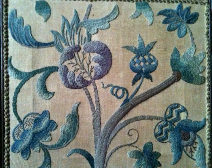 Crewel work fire screen from Canons Ashby, in England.