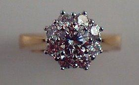 Traditional cluster diamond ring