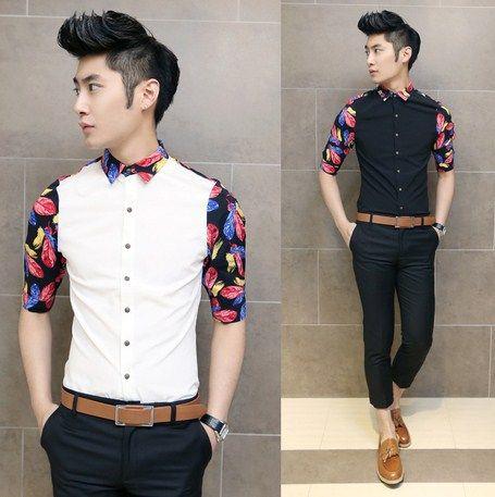 New 2014 Unique Colorblock Men Fashion Casual Shirt Slim Asian Man Spring Summer Cool Shirt $22.99