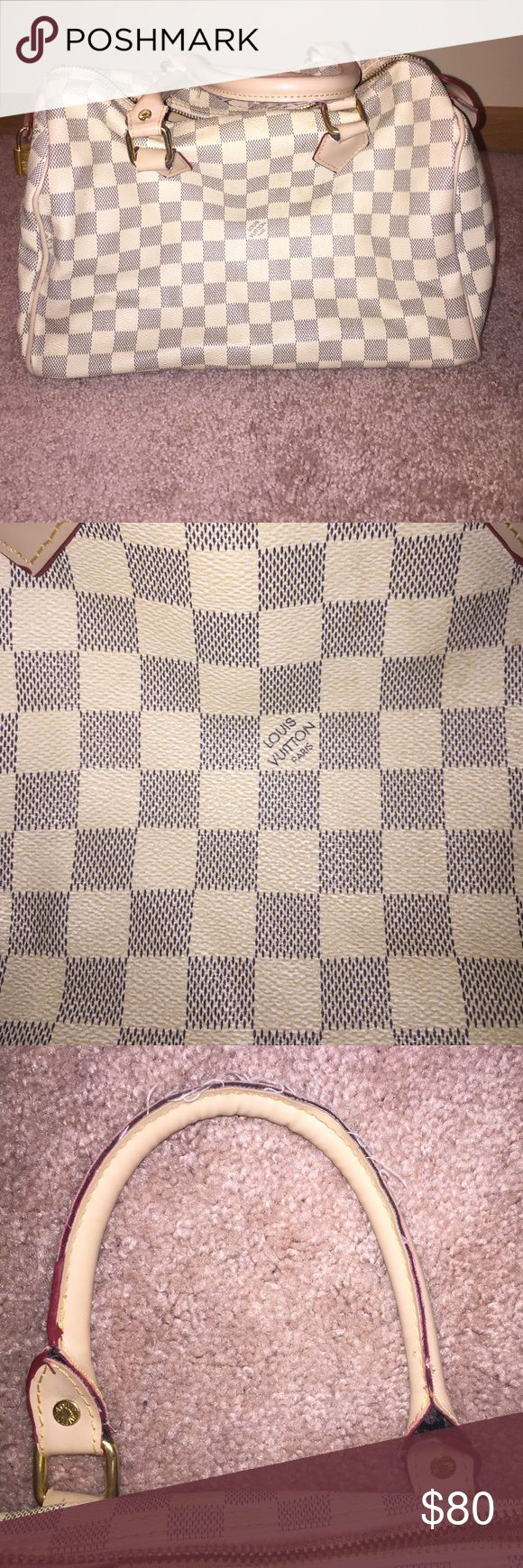 White Gray Checkered Bag/Purse/Speedy Inspired Speedy. Not authentic. Slight ware on handles as shown in photo. Zipper on inside and outside both work. Bags