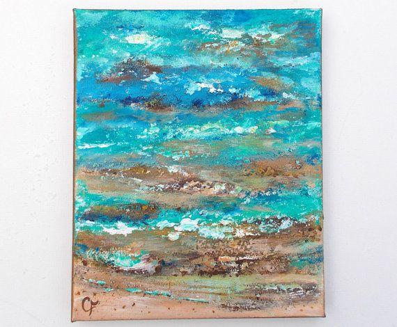 Pittura testurizzata spiaggia, sabbia e battigia 8x10 oceano