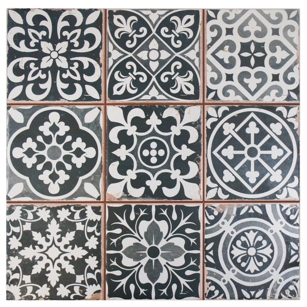 SomerTile 13x13-inch Faventia Nero Ceramic Floor and Wall Tile (Case of 10)