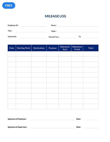 Free Simple Mileage Log Sheet Templates  Designs 2019 Templates