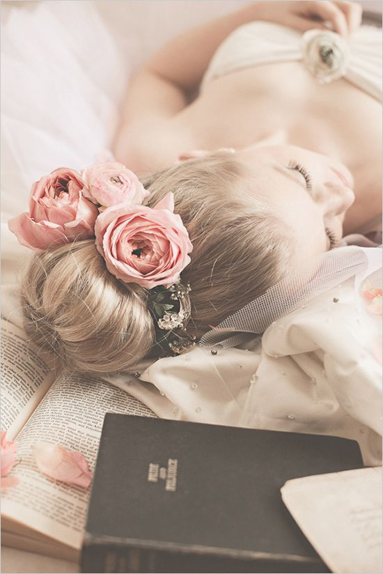 Bridal session ideas with elegant hair and floral hair piece. Captured By: Destiny Dawn Photography ---> http://www.weddingchicks.com/2014/05/29/love-letters/
