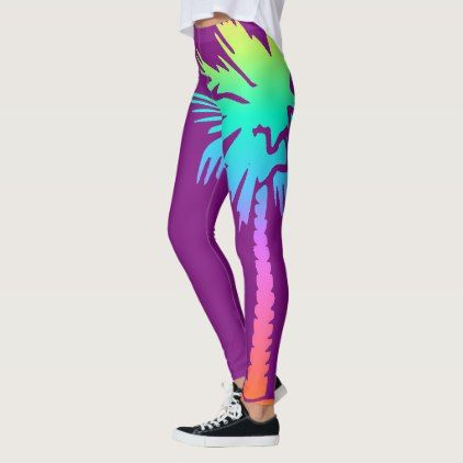 neon palm tropical summer bright colorful purple leggings - trendy gifts cool gift ideas customize