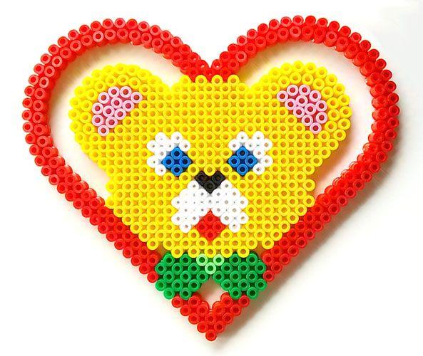 Teddy bear in the heart hama perler beads