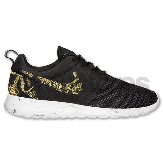 Nike Roshe Run Black Marble Metallic Gold Musical Notes Print Custom