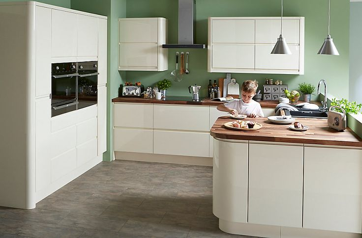 Cooke & Lewis Appleby High Gloss Cream with Integrated Handle | DIY at B&Q