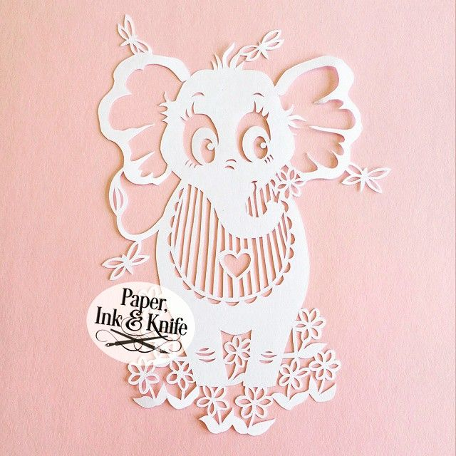 Baby Elephant Paper cutting template by Paper Ink and Knife.