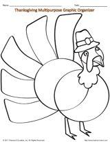 Turkey Coloring Page & Multipurpose Graphic Organizer