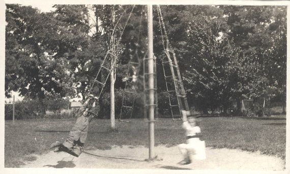 Vintage Photo Children On Playground 1913 Maypole Merry Go