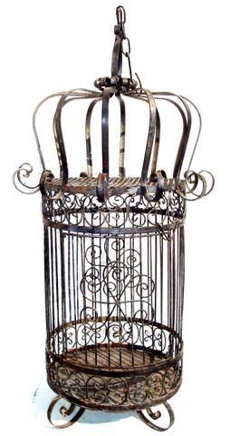 Antique Wrought Iron Bird Cage | Antique Wrought Iron Bird Cage ~ A Nice Old Heavy Wrought Iron Bird ...