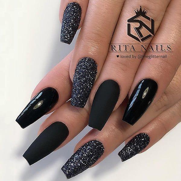 Glamorous And Stylish Blue Nails Design Black Nails With Glitter Black Acrylic Nail Designs Black Nail Designs
