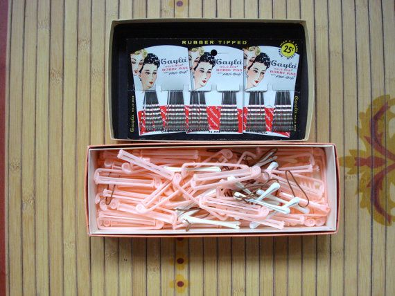 Vintage 1950s Curlers and Bobby Pins 2013486 by bycinbyhand, $20.00