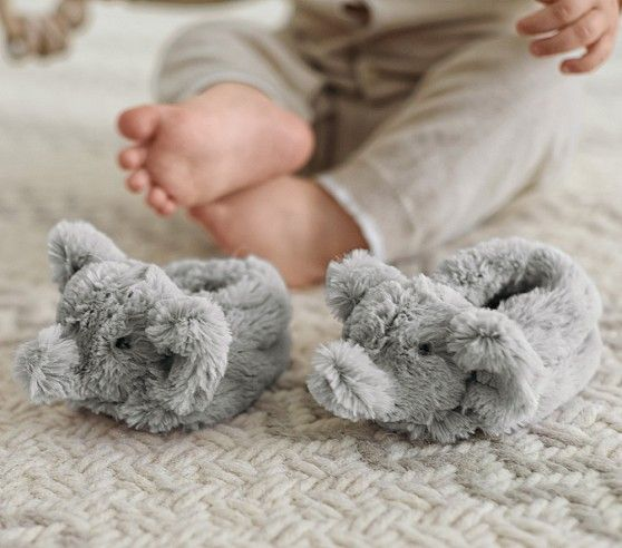 Nursery Fur Animal Slippers | Pottery Barn Kids. Elephant Slippers :)
