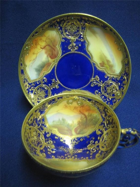 Nippon Cup Saucer in Cobalt with heavy Gilt Beading and Scenes