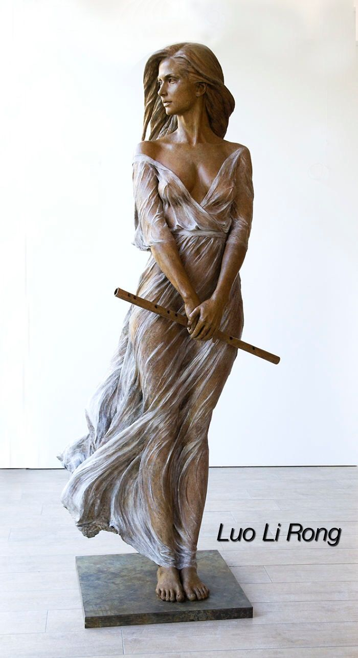 Life size bronze sculpture  by Luo Li Rong