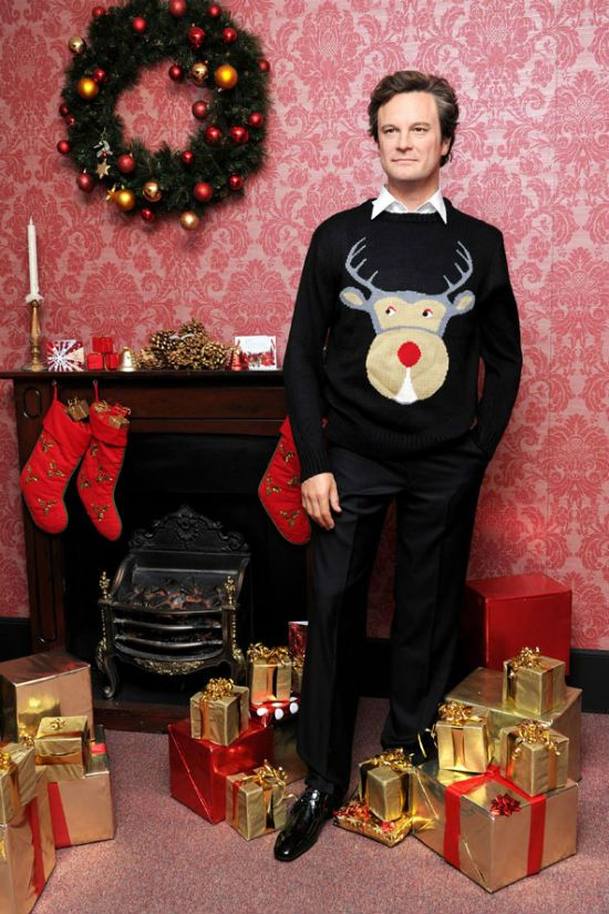Colin Firth...what a guy and really rocks the ugly sweater...Thanks Laura Ingalls Gunn for sharing.