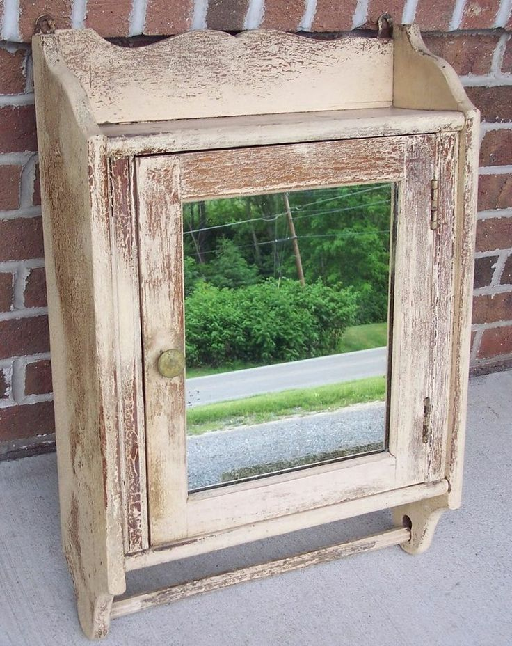 Antique OAK Victorian Medicine Cabinet Mirror  Towel Bar Old Shabby Ivory Paint #Shabby